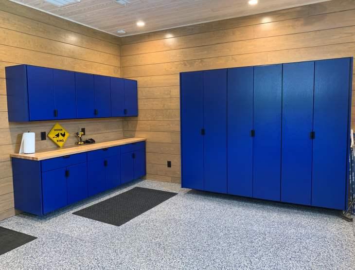 Bright Blue Garage Cabinets